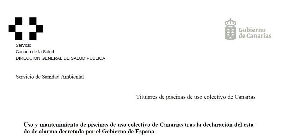 Circular Covid-19 Coronavirus Piscinas Canarias