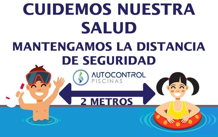 cartel distancia de seguridad agua piscinas